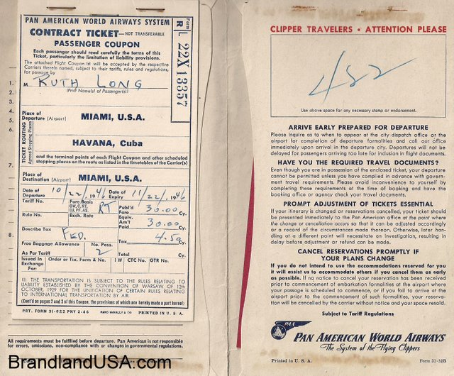 Pan Am Ticket