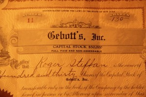 Historic stock certificate of New York company