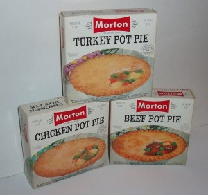 A trio of Morton meat pot pies from the 1960s.